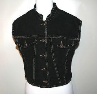 SKOTTS Black Suede Leather Vest sleeveless Tank Top washable Women sz