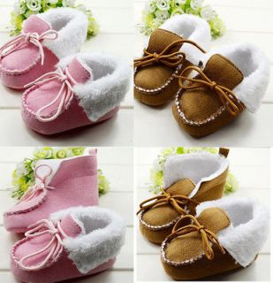 Pair Newborn Baby Girls Boys Winter Fluffy Baby Boots Training Shoe