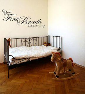Baby Bedroom Nursery Vinyl Wall Art Sticker Decal Quote Took Breath