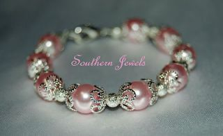 Baby/ Child Girls PINK AND SILVER PEARL Bracelet FLOWER GIRL Jewelry