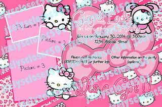 Custom Made Pink Hello Kitty Girl baby shower party invitation