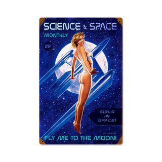 Bikini Science Space Moon Rocket Pinup Ad Art Poster Print 12 x 18