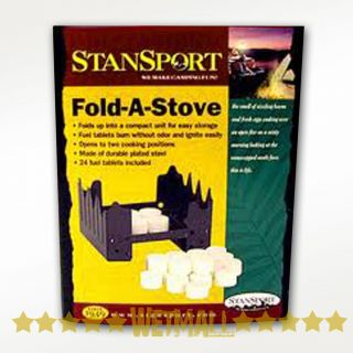 Folding Stove + 24 Solid Fuel Tablets for Camping Survival Backpacking