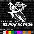 Baltimore Ravens No Fear Design Stickers Car Vinyl Decals JDM