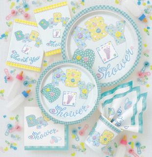 BABY SHOWER party decorations green boys boy girls girl items stitches