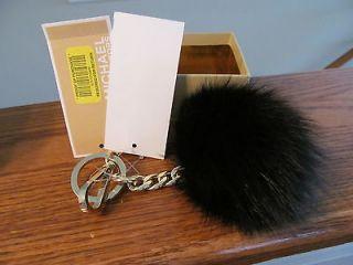 Authentic Michael Kors Black Fox Fur Ball Pom Pom Key Ring Fob Charm