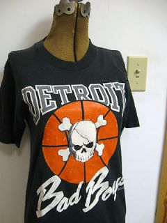 Vtg Detroit Bad Boys Pistons Shirt 80s 1988 Youth Small 32 Black Skull
