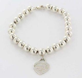Designer Tiffany & Co Sterling Silver Bead Heart Charm Bracelet Used