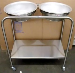 7808SS Snyder Model, double basin solution stand, Stainless Stee l