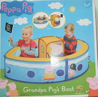 BNIB PEPPA PIG TOYS GRANDPA PIGS 2 IN 1 POP UP BALL PIT / TENT 6M +