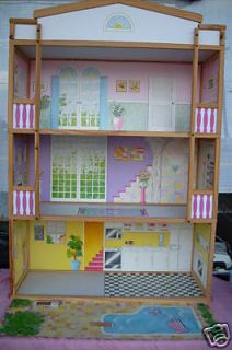 RETIRED BARBIE SIZE 4 STORY WOODEN DOLL HOUSE *NEW*