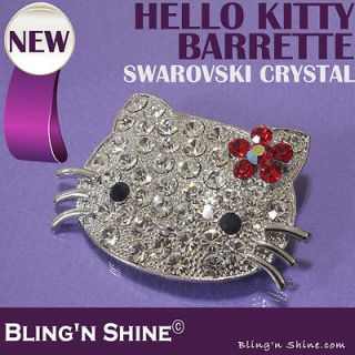 Hello Kitty Large Hair Barrette Clips Red Bow Swarovski Crystal Hair