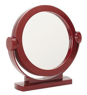 PIVOTING 5.25 VANITY MIRROR RED FRAME ON PEDESTAL COSMETIC SHAVING