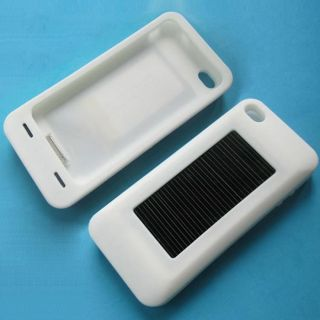 White Silicone USB Solar Battery Charger Case Fit For iPod iPhone 3G
