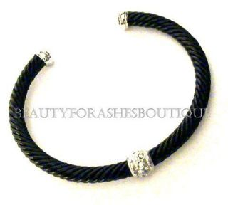 BEAUTY FOR ASHES PREMIER DESIGNER STYL BLACK DESIGN CLEAR CRYSTAL CUFF