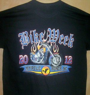 BLUE BIKE & FLAMES 2012 Myrtle Beach Bike Rally Black T Shirt Sz SM