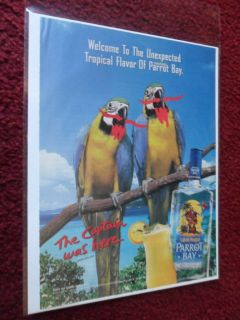 Print Ad Captain Morgan Rum ~ Tropical PARROT BAY Birds on a Branch
