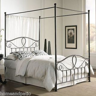 Queen Size French Roast Metal Canopy Bed with Optional Bed Frame