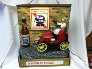 CH9 PABST BEER SIGN LIGHT CAR MOTION JALOPY AUTOMOBILE LIGHTED BACK
