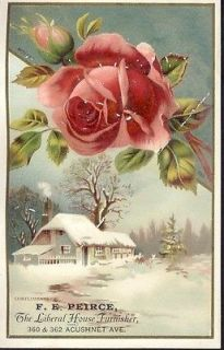 HOUSE FURNISHER + PARLOR STOVES Victorian Trade Card NEW BEDFORD MA