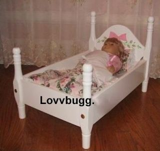 Newly listed White Bed w Flowers Doll Furniture fits American Girl