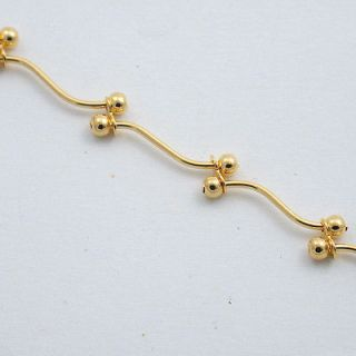 Newly listed 9 24kt GOLD EP BEADED ANKLE BRACELET ANKLET WOW