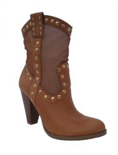 BCBG Winston Tan Mesh Western Cowboy Boot
