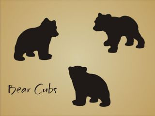 STENCIL Bear Cub Shape Rustic Animal Mountain Outdoor Lodge cabin