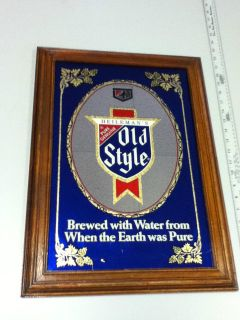 STYLE BEER SIGN MIRROR BAR VINTAGE REVERSE HEILEMANS BREWERY OLD PUB