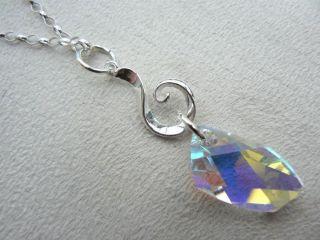 silver Swarovski Avant Garde crystal pendant on 20 oval belcher chain