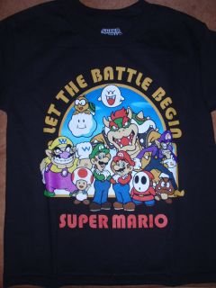 Boys Super Mario Bros Luigi Let The Battle Begin T Shirt New w/ Tags