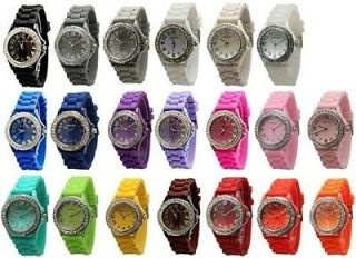 Different Colors Large Face SILICONE RUBBER JELLY WATCH With CRYSTALS