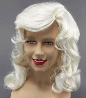 Dolly Parton Wig Long White Glamour Style Country Fancy Dress New