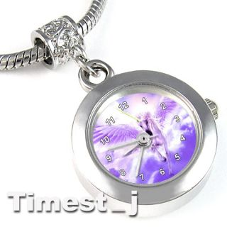 Flying Unicorn Silver European Spacer Charm Bead Watch For Bracelet