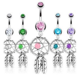 GEM STAR & FEATHERS BELLY NAVEL RING CZ BUTTON PIERCING JEWELRY B47