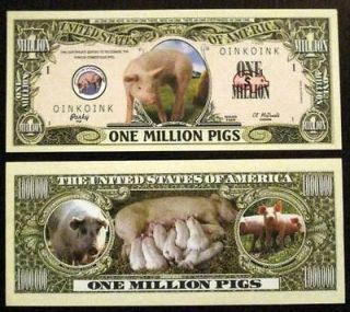 Million Pigs Adorable Dollar Bill Collectable Gift Card Stuffer