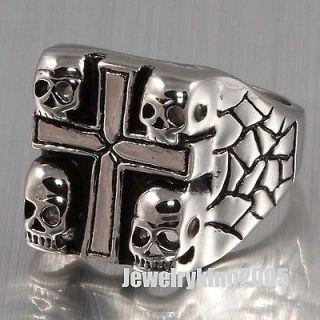 New 20MM Stainless Steel Heavy Huge Mens Four Skull Biker Cross Ring