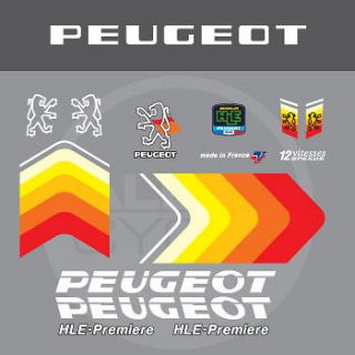 0388 Peugeot HLE Premiere Bicycle Frame Stickers   Decals   Transfers