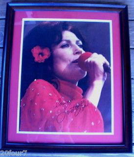VINTAGE LORETTA LYNN in RED Hand Signed Autograph Poster FRAMED From