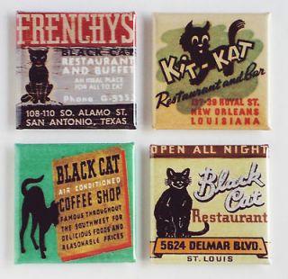 Black Cat FRIDGE MAGNET Set coffee frenchy new orleans matchbook