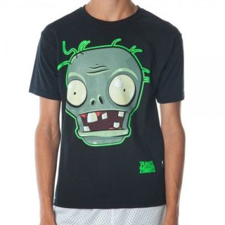 Official Plants vs Zombies Big Face Zombie Black Youth T Shirt