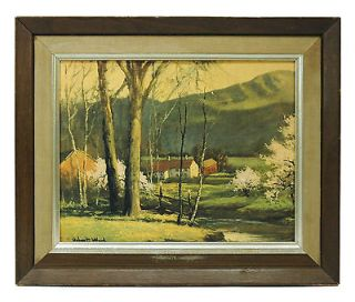 Signed ROBERT WOOD Painting ORIGINAL PRINT Framed 15x17 Country FARM