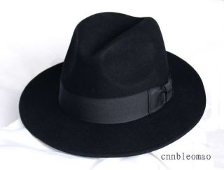 MICHAEL JACKSON black Fedora Hat Cap Wool Classic New