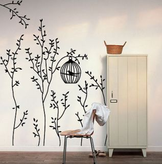 Sticker &Bird Cage&Trees Removable Wall Decal Vinyl Decor BLACK GRAY