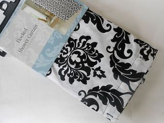 FLOCKED Black White DAMASK Fabric SHOWER CURTAIN New By Victoria