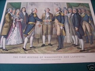 Currier & Ives Print   First Meeting of Washington & LaFayette