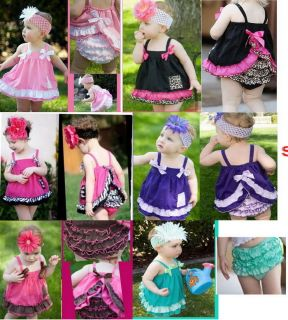 Baby Ruffle Top Dress Pants Set Size0 4Y New Bloomers Nappy Cover