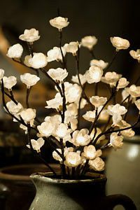 Newly listed 20 Lighted Cream CHERRY BLOSSOM Twig Branch   60 lights