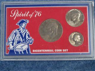 1776 1976 Spirit of 76 Bicentennial Coin Set of 3 coins B9868