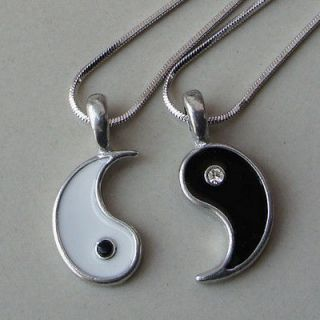 Yin Yang Love Best Friend Black/Clear Crystal Silver Pewter Pendant